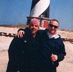 Brad and Bud near a lighthouse